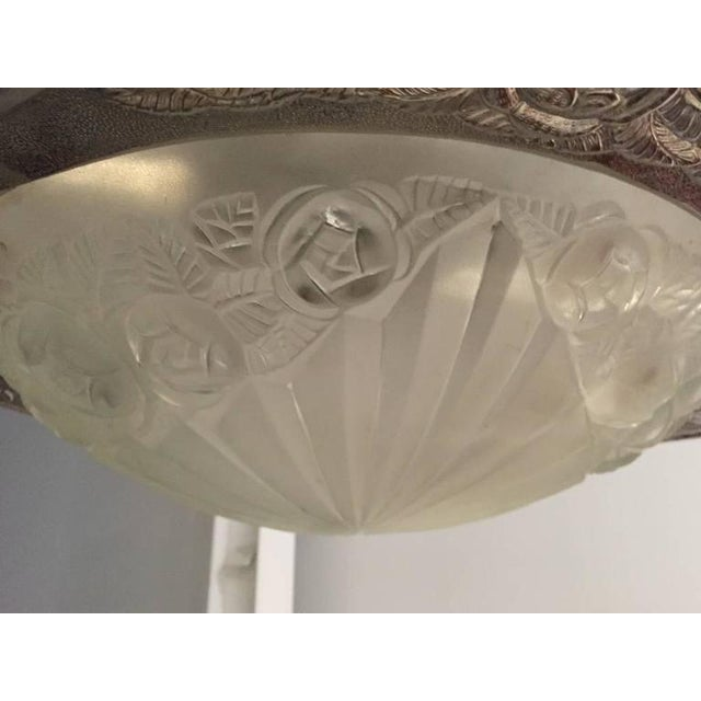 Degue Signed French Art Deco Chandelier For Sale In New York - Image 6 of 10