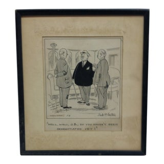 """20th Century Signed Black & White Print, """"Well Well j.b. - So You Haven't Been Renegotiated Yet"""" by Dale McFeatters For Sale"""