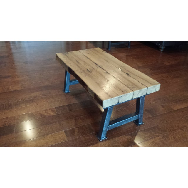 Industrial Reclaimed White Oak Coffee Table - Image 2 of 7