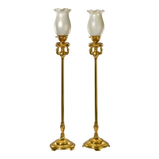 Table Top Brass Torchiere Lamps With Vintage Opaline Glass Shades - a Pair For Sale