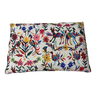 """Multicolored Otomi Style Feather Pillow 14"""" X 22"""" For Sale"""