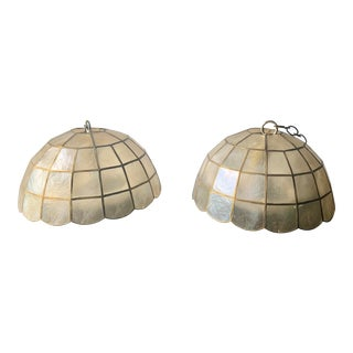 Mid-Century Capiz Shell and Brass Domed Chandeliers - a Pair For Sale