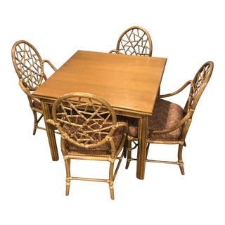 1970s Vintage McGuire Bamboo Table and Chairs- Set of 5 For Sale