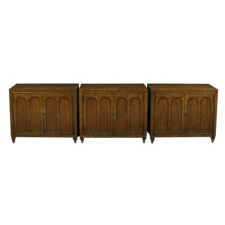 Trio of Mastercraft Burled and Walnut Colonnade Cabinets For Sale