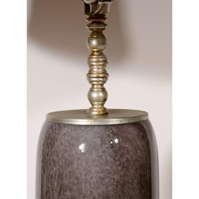 Hollywood Regency Murano Glass Lamp with Scrolled Base For Sale - Image 4 of 7