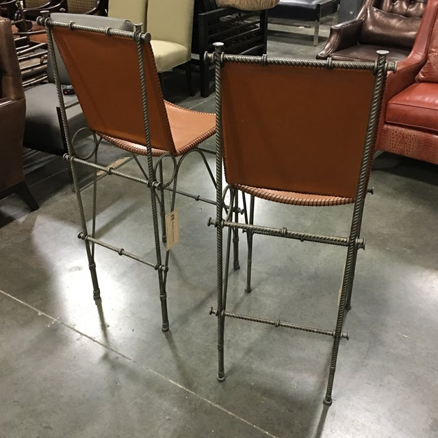 Leather & Rebar Bar Stools - a Pair For Sale In Atlanta - Image 6 of 6