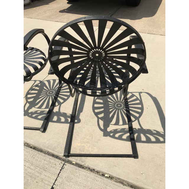 Black Francois Carre French Sunburst Garden Chairs Circa 1930 - Set of 4 For Sale - Image 8 of 11