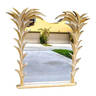 Rare Vintage Massive Palm Beach Regency Serge Roche Style Palm Frond Tree Wall Mirror For Sale