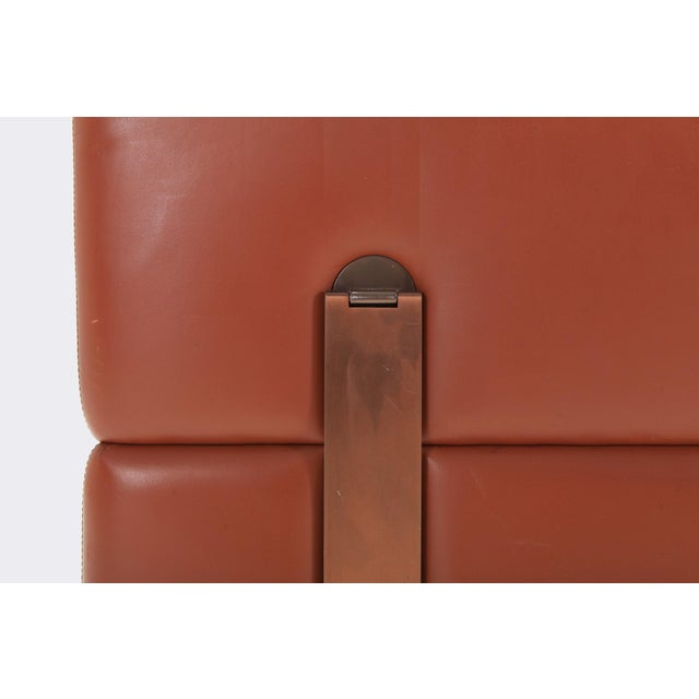 Metal Minimalist Cognac Leather Sofa by Tito Agnoli for Cinova For Sale - Image 7 of 12