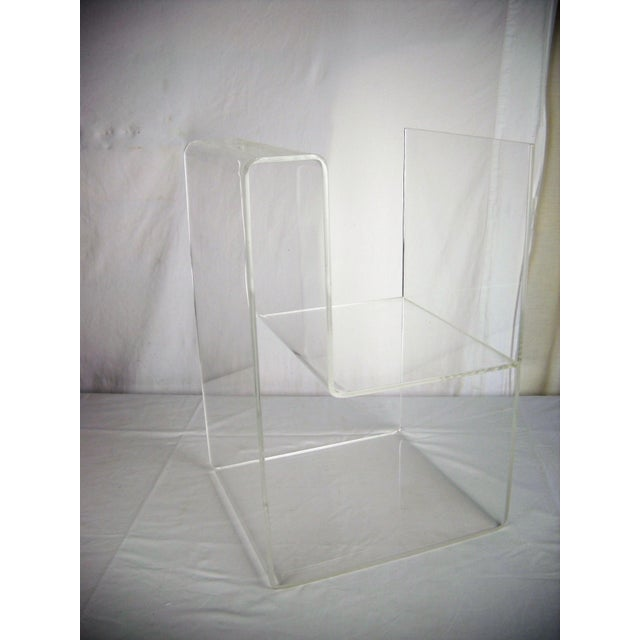 Contemporary Large Lucite 2-Level Magazine Rack For Sale - Image 3 of 9
