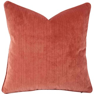 "Contemporary Coral Pink Velvet Stripe With Self-Welt Pillow Cover - 20"" X 20"" For Sale"
