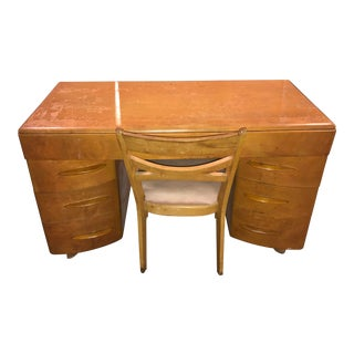 1940s Vintage Heywood Wakefield Knee Hole Desk With Chair-a Pair For Sale