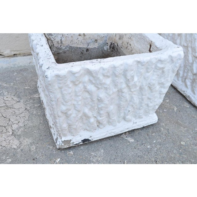 9 X 11 Pair of Vintage White Concrete Cement Square Garden Planter Flower Pots For Sale - Image 4 of 7
