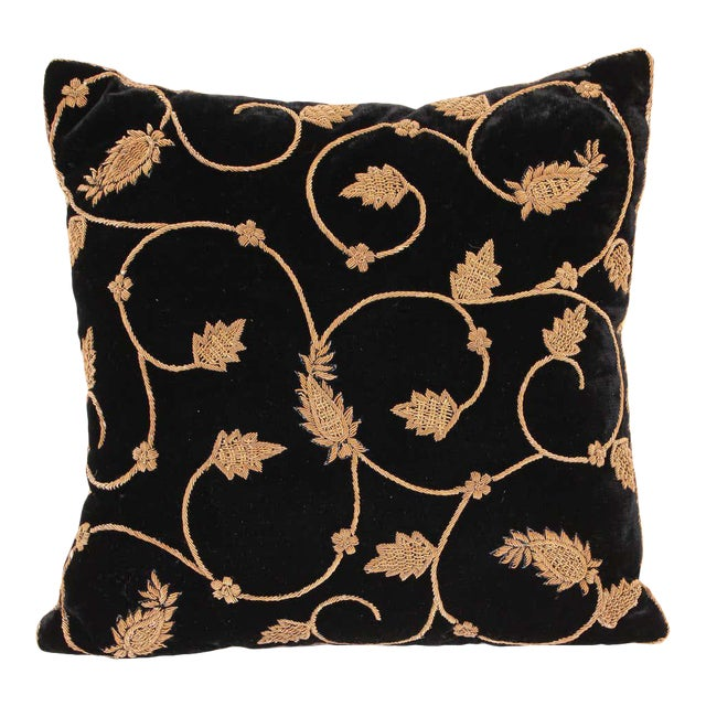 Black Silk Velvet Throw Pillow Embroidered with Gold Design For Sale