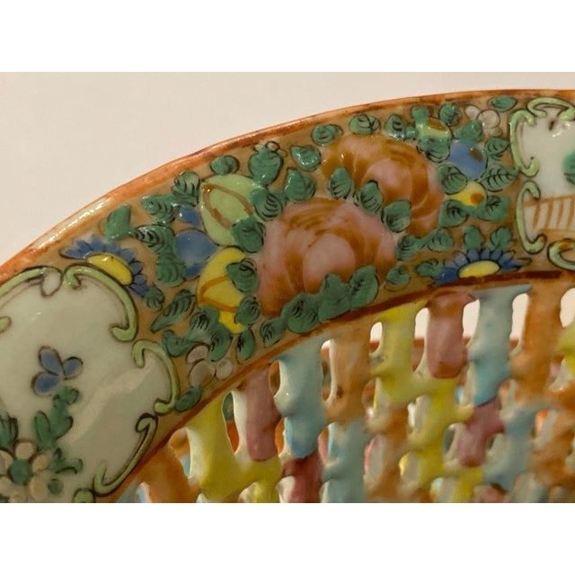 Ceramic Rose Medallion Pierced Bowl and Under Plate For Sale - Image 7 of 13