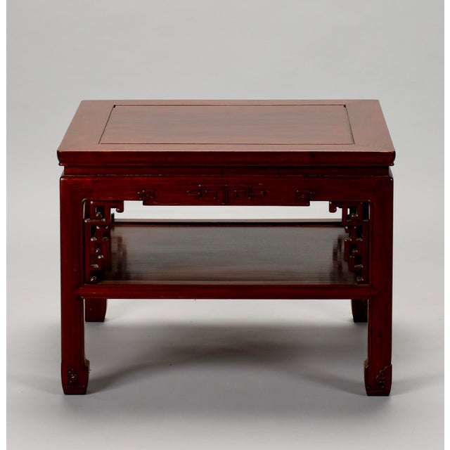 Chinese Carved Wooden Square Cocktail Table c.1930s - Image 6 of 7