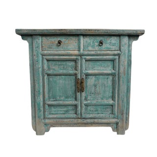 Vintage Blue Side Cabinet For Sale