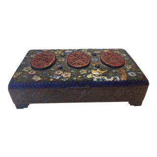 Small Antique Cloisonné Lapis Cinnabar Brass Asian Box For Sale