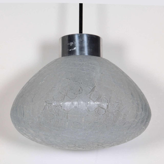 1960s German Textured Glass Pendant Light - Image 4 of 4