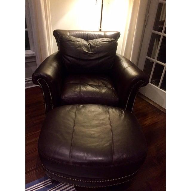 Ferguson Copeland Surrey Leather Chair & Ottoman For Sale - Image 10 of 10
