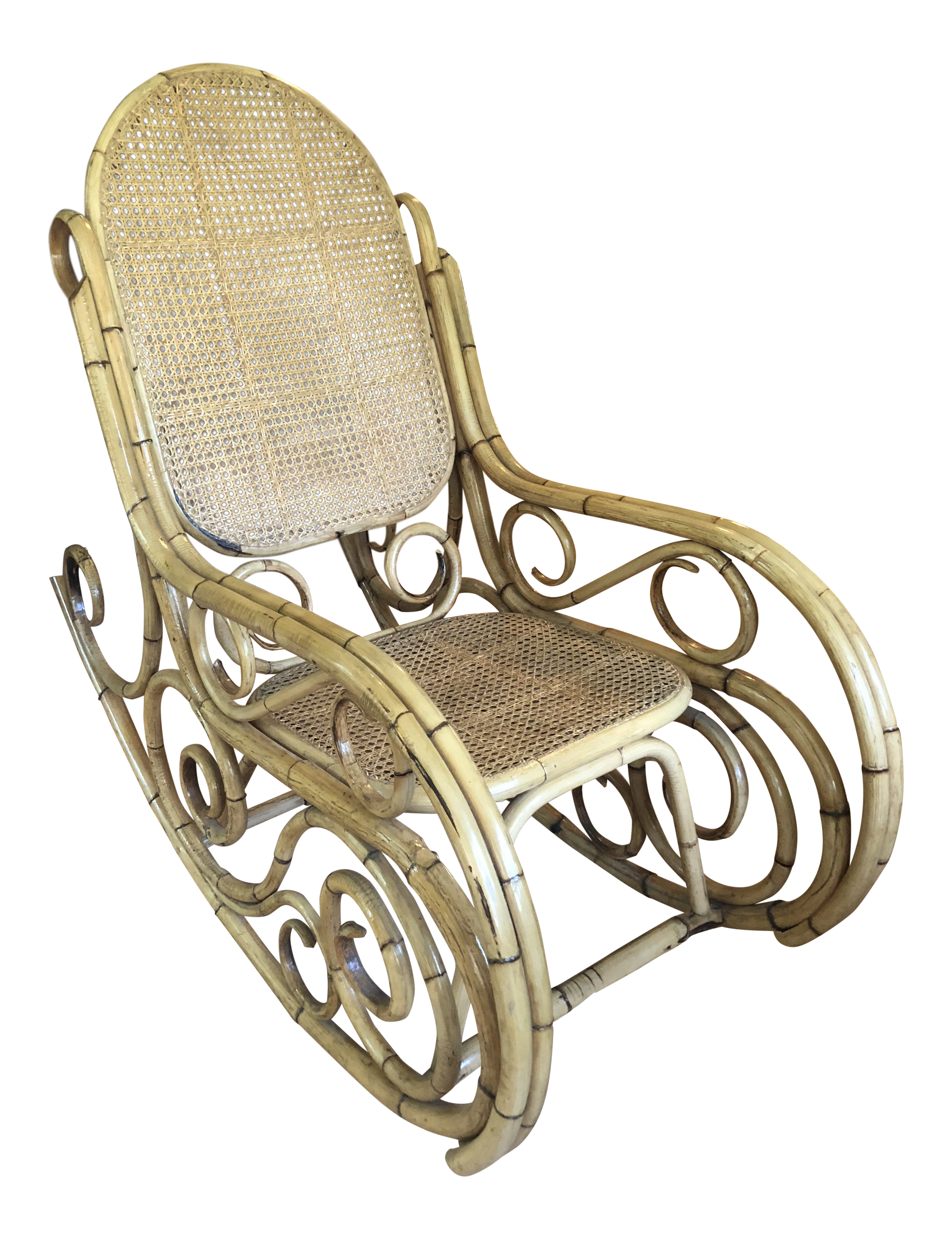 1960s Boho Chic Thonet Style Bamboo Rattan Rocking Chair
