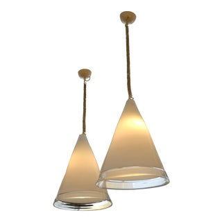 Pair of Italian Hand Blown Murano Glass Pendant Lamps by Renato Toso for Leucos For Sale