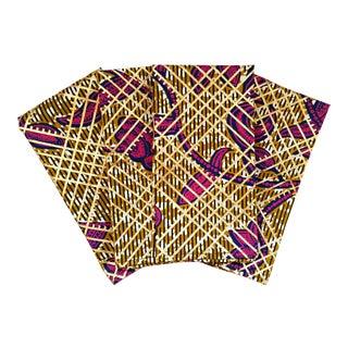 Gold Leaf African Print Fabric Napkins & Runner - Set of 7
