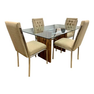 Mid Century Rosewood and Glass Table Dining Set - 5 Pieces For Sale