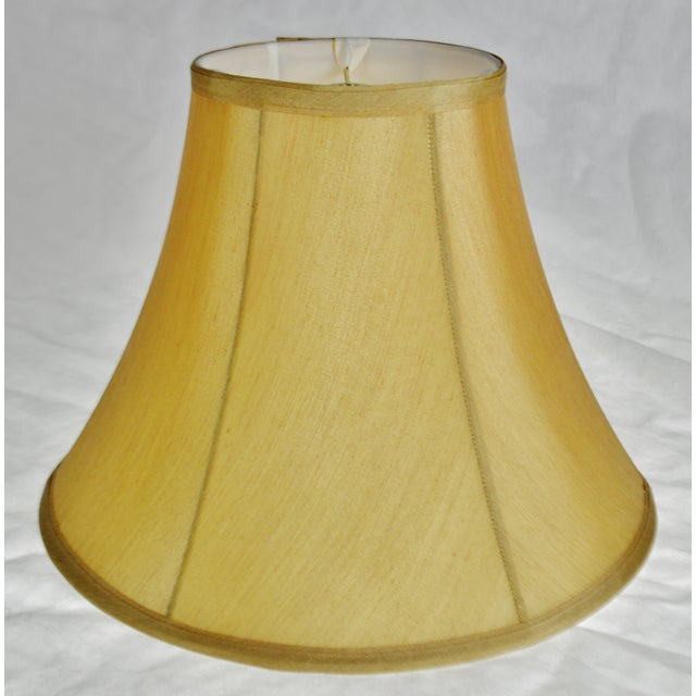 Traditional Vintage Tan Fabric Lined Bell lampshade For Sale - Image 3 of 11