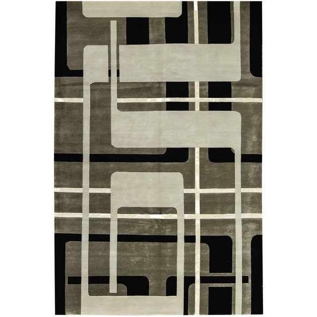 "Contemporary Hand Woven Rug - 6' x 9'3"" - Image 1 of 3"