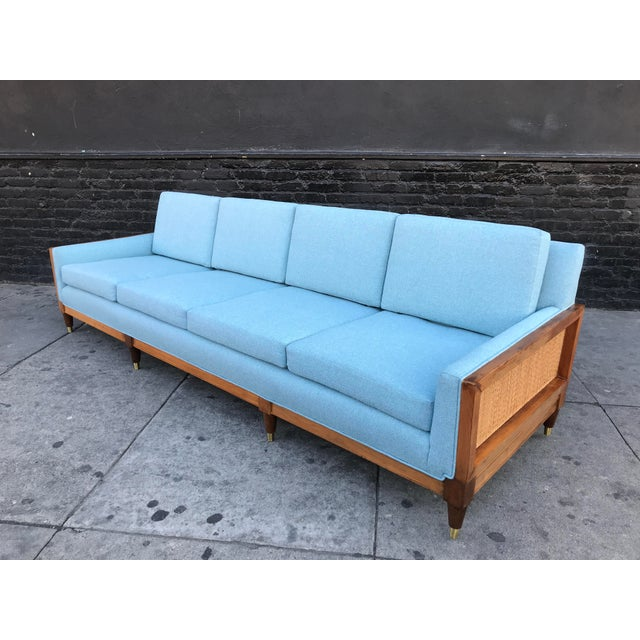 1950s Vintage Mid Century Long Sofa For Sale - Image 5 of 13