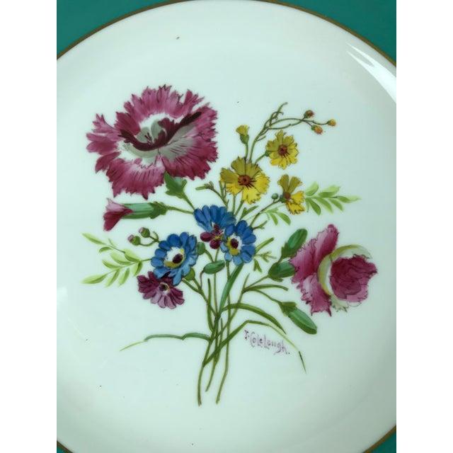 Ceramic Signed J. Colclough Minton H4780 Hand Painted Floral Aqua Rim Plates - Set of 12 For Sale - Image 7 of 13