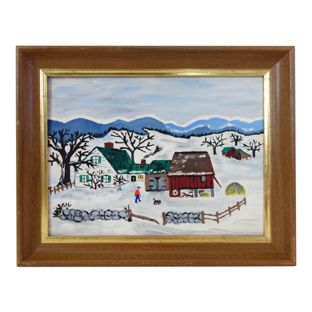 Framed Folk Art Winter Homestead Painting For Sale