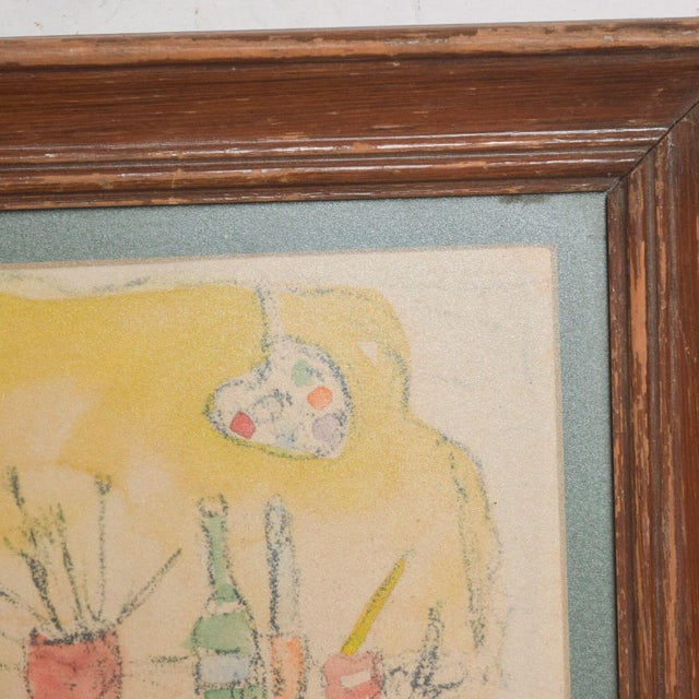 Modern Mid Century Vintage Still Life Drawing Yellow Purple Lithograph For Sale In San Diego - Image 6 of 9