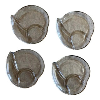 1950s Jeanette Glass Divided Snack Plates - Set of 4 For Sale