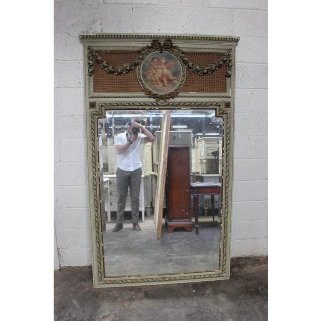 Early 18th Century Antique French Painted Trumeau Mirror For Sale In Atlanta - Image 6 of 6