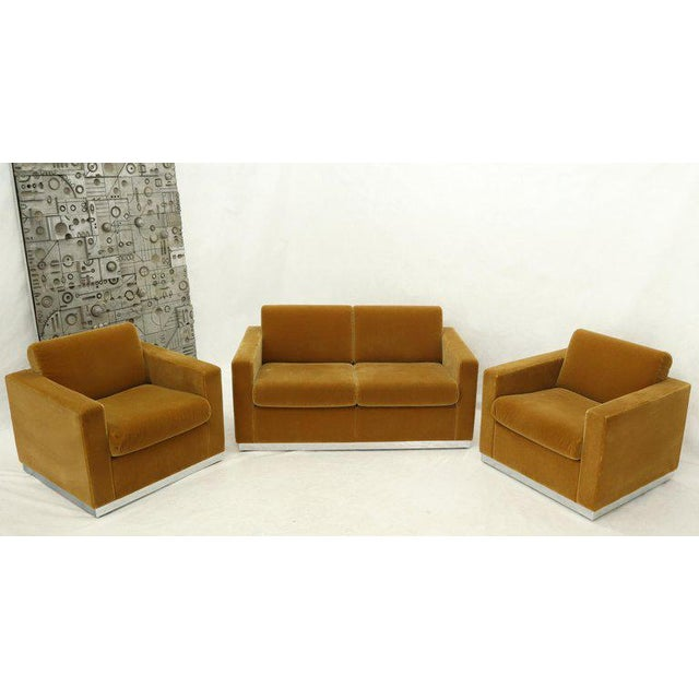 Three Pieces Mohair Living Room Set Club Chairs Love Seat Sofa For Sale - Image 9 of 13