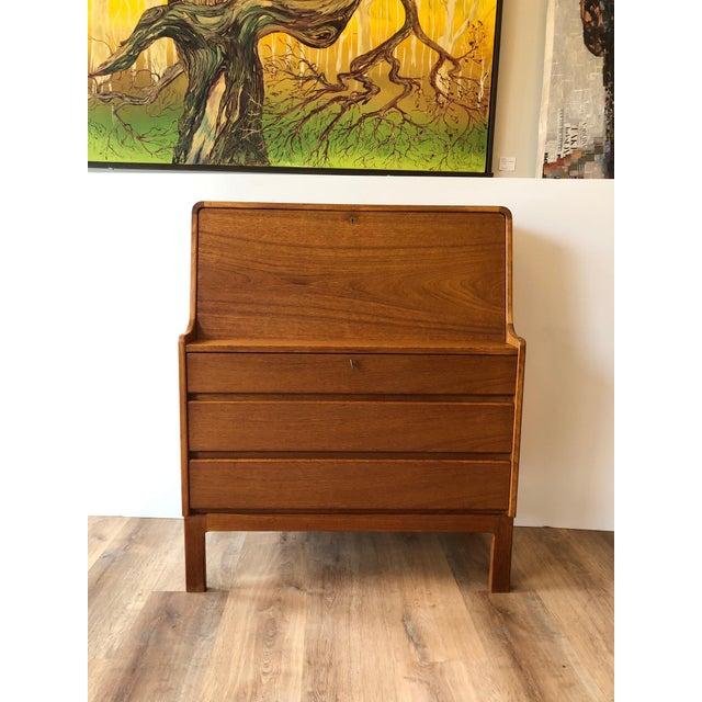 Mid-Century Modern Vintage Danish Modern Teak Drop Leaf Secretary Desk For Sale - Image 3 of 11