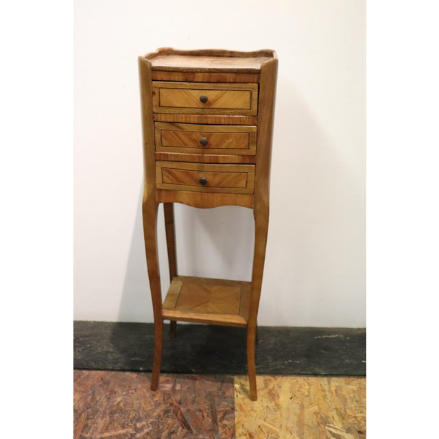 20th Century Italian Louis XV Style Inlay Wood Pair of Side Tables or Nightstand For Sale - Image 4 of 13