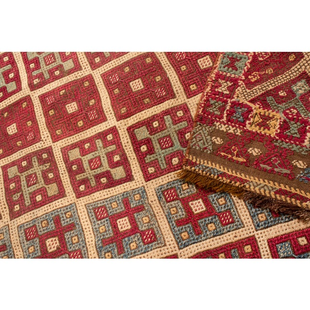 2010s Contemporary Geometric Wool Kilim Rug - 3′5″ × 10′5″ For Sale - Image 5 of 6