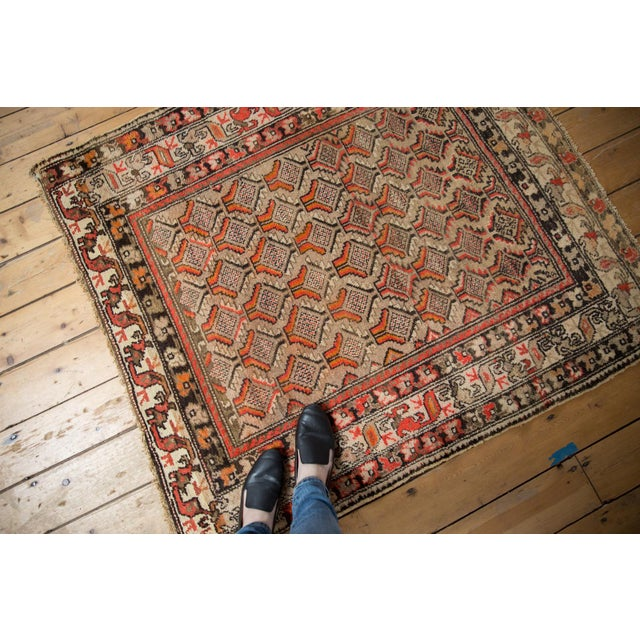 "Antique Hamadan Square Rug - 4'1"" x 4'9"" For Sale - Image 4 of 12"