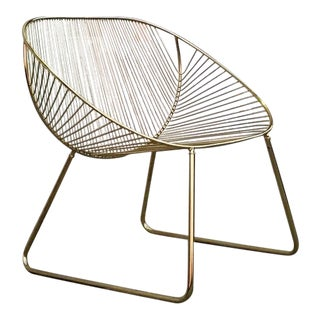 Modern Brass Wire Lounge Chair For Sale
