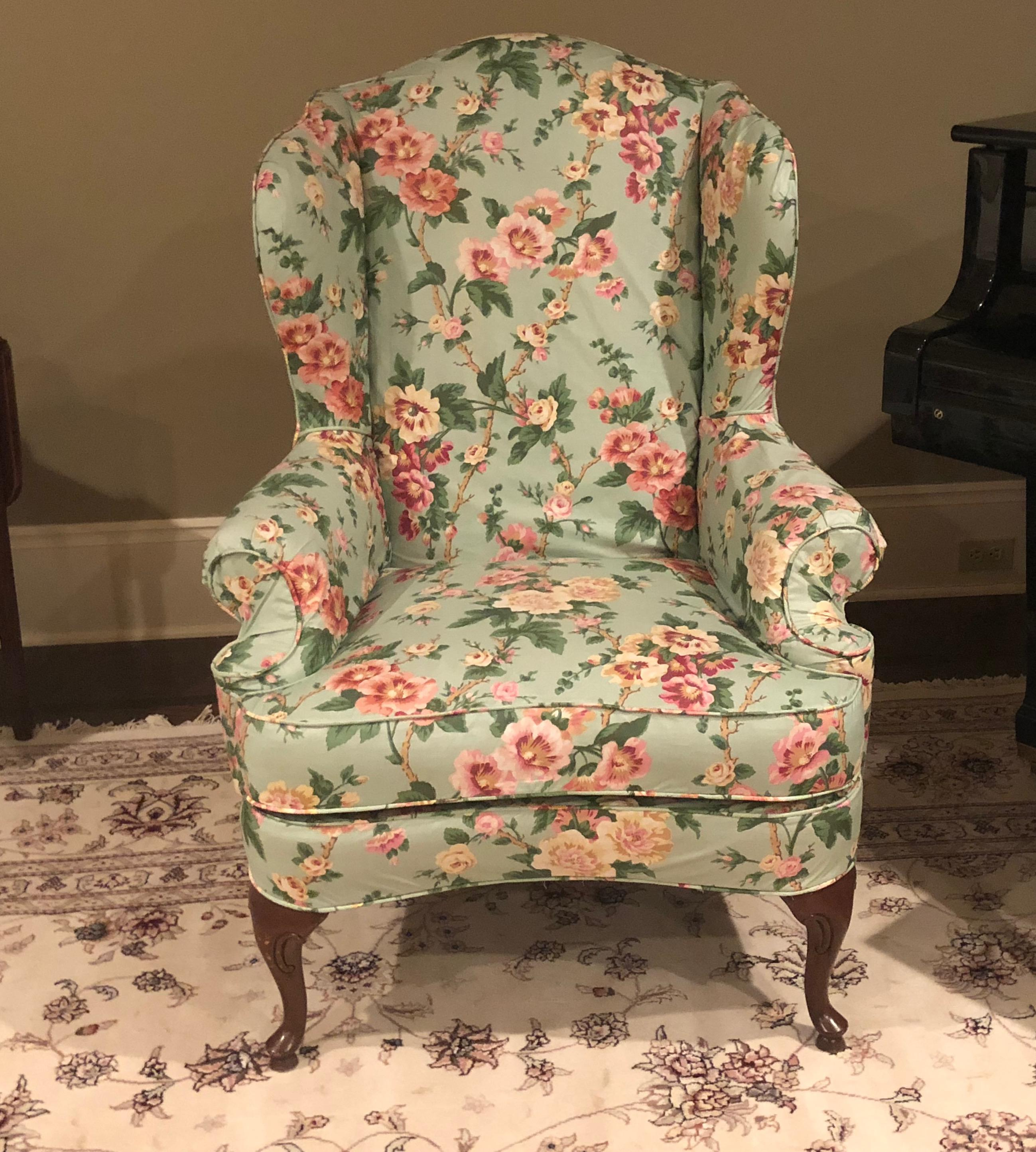 Vintage Floral Wingback Chair   Image 6 Of 6