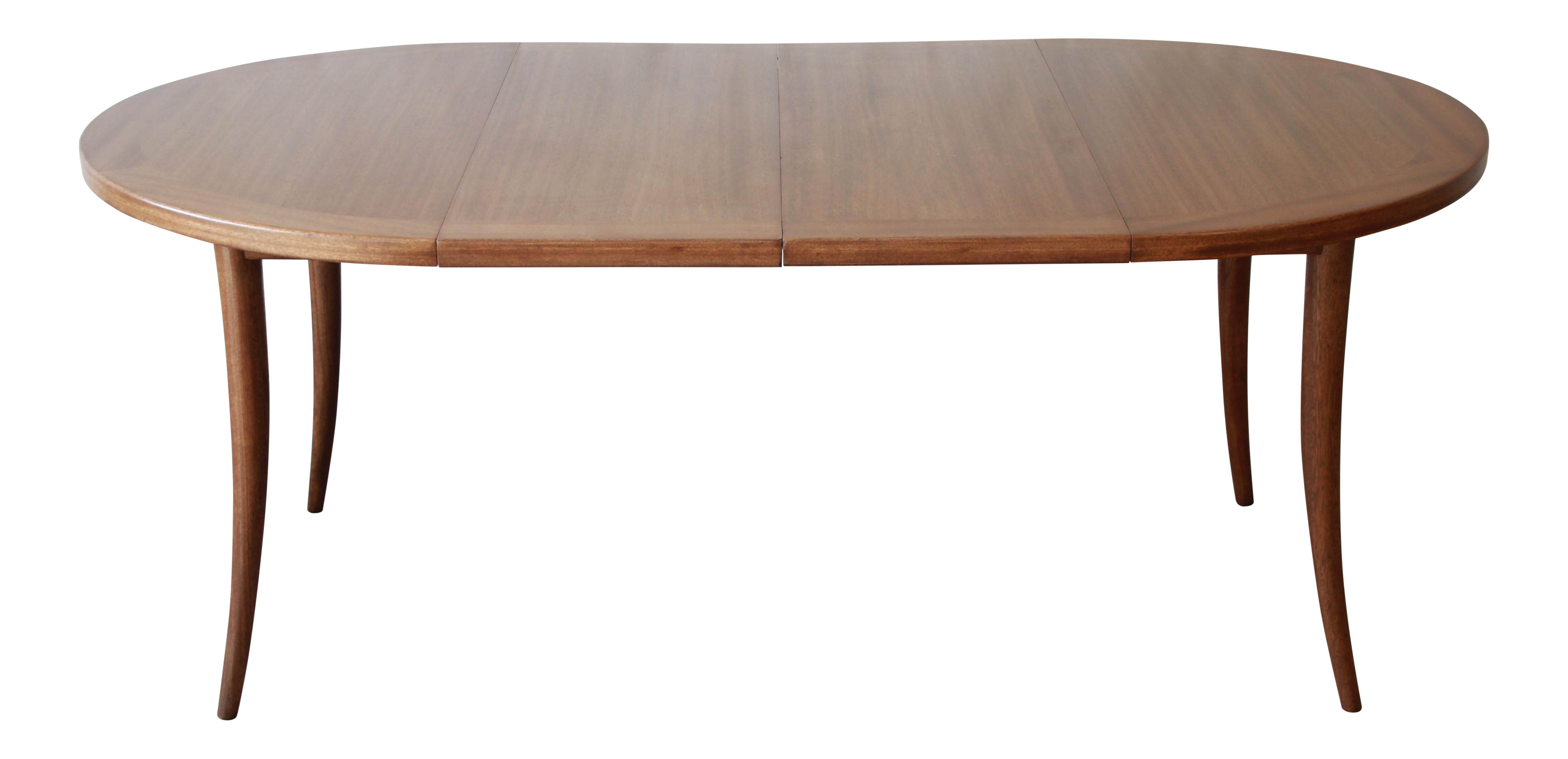 Harvey Probber Mid Century Modern Mahogany Saber Leg Extension Dining Table  For Sale