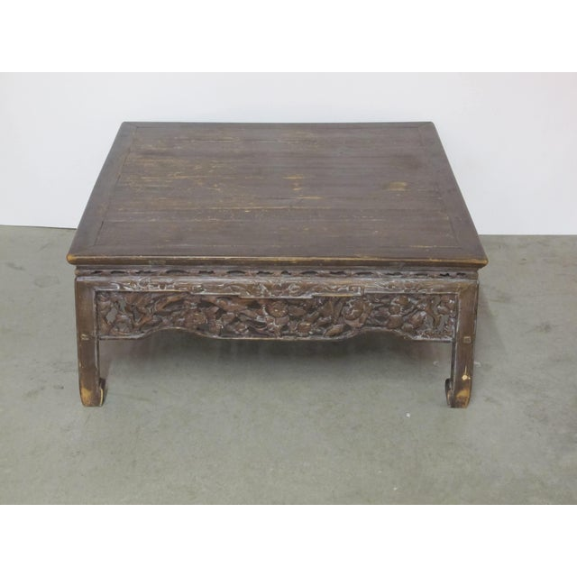 Antique Asian Chinese Solid Wood Coffee Tea Table For Sale - Image 11 of 11