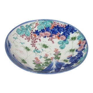 Asian Hand Painted Footed Bowl For Sale