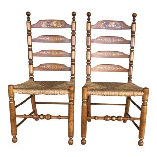 L. Hitchcock Ladder Back Harvest Rush Bottom Side Chairs - a Pair