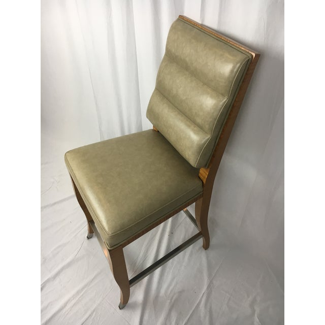 Traditional Lemonwood Green Aubusson Bar Stool For Sale - Image 3 of 9