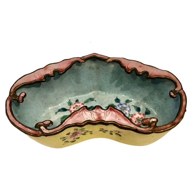 Yellow Late 19th Century Chinese Enamel Catchall Dish For Sale - Image 8 of 8