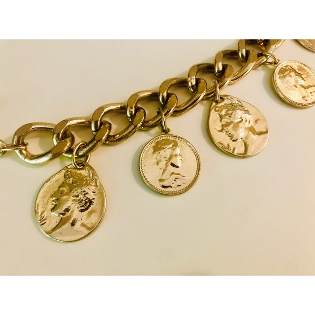 Metal 1980s Gold Roman Coin Charm Bracelet For Sale - Image 7 of 8